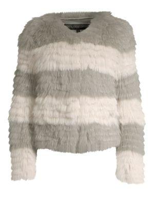 POLOGEORGIS Stripe Fox-Fur Jacket