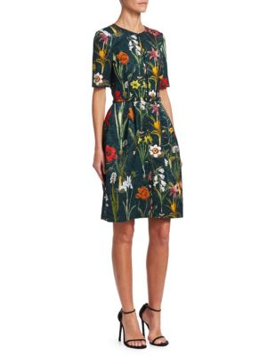 OSCAR DE LA RENTA Short Sleeve Floral Jacquard A-Line Dress