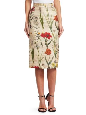 OSCAR DE LA RENTA Harvest Floral Pencil Skirt