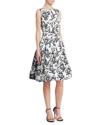 OSCAR DE LA RENTA Floral-Print A-Line Dress