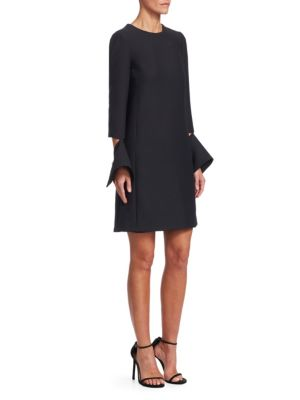 OSCAR DE LA RENTA Split-Cuff Wool Tunic Dress