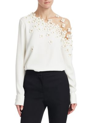 OSCAR DE LA RENTA Illusion One-Shoulder Silk Blouse