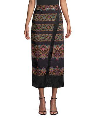 Chain Paisley Silk Tassel Midi Skirt