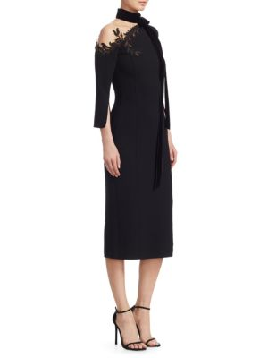 OSCAR DE LA RENTA Tie-Neck Lace Shoulder Sheath Dress