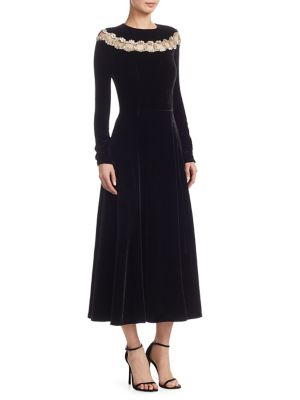 OSCAR DE LA RENTA Chain-Embroidered Velvet A-Line Dress