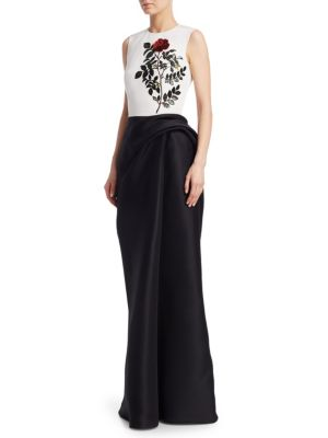 OSCAR DE LA RENTA Sequin Embroidered Silk Sleeveless Column Gown