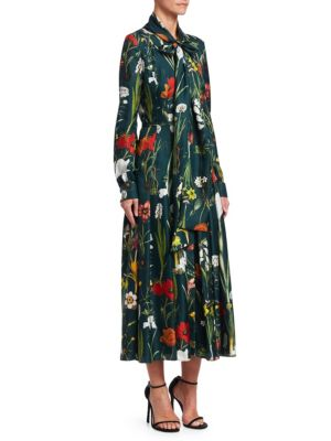 OSCAR DE LA RENTA Floral-Print Wrap Dress