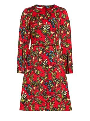 OSCAR DE LA RENTA Pomegranate Jacquard A-Line Dress