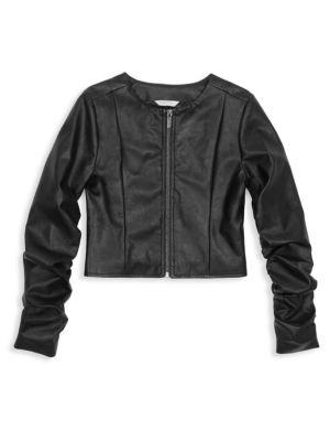 HABITUAL GIRL | Girl's Emma Faux Leather Jacket | Goxip