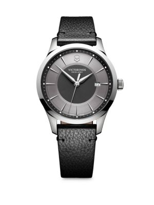 Alliance Stainless Steel Scratch-Resistant Leather-Strap Watch