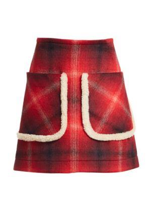 Faux Fur Trim Plaid Skirt