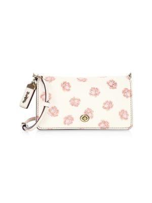 COACH Rose Print Dinky Glitter Shoulder Bag