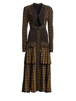 Tiered Puff-Sleeve Midi Dress