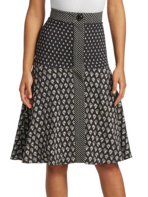 Printed Silk A-Line Skirt