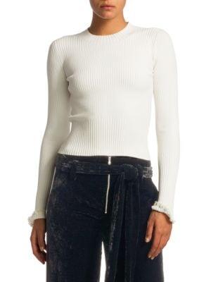 PROENZA SCHOULER Cropped Rib-Knit Crewneck Sweater
