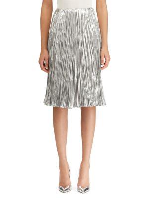 Kiernan Pleated Lamé A-line Skirt