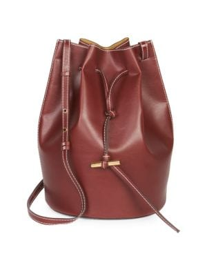 Faux Leather Medium Belted Bucket Bag
