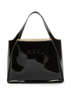Faux Patent Leather Dual Tote Bag