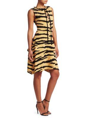 PROENZA SCHOULER Tiger-Print Tiered Drawstring Dress