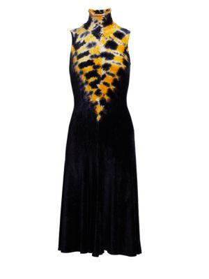 PROENZA SCHOULER Velvet Turtleneck Jersey A-Line Dress