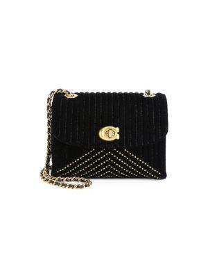 Quilted Velvet Chain Shoulder Bag