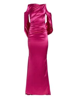 Drape-Back Satin Gown