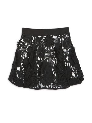 Little Girl's & Girl's Cady Floral Appliqué Skirt