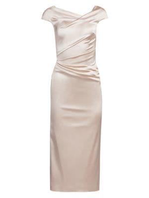 Stretch Satin Midi Cocktail Dress