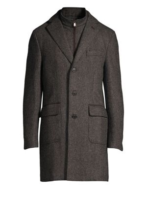CORNELIANI Wool Herringbone ID Topcoat