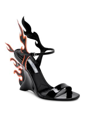 Leather Flame Wedge Sandals
