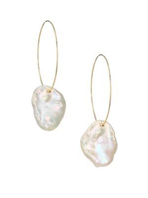 MIZUKI Sea of Beauty White Petal Pearl Hoop-Drop Earrings
