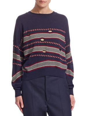 CASEY STRIPED CUTOUT SWEATER
