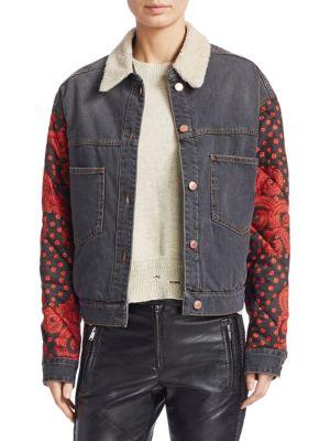 Chrissa Faux Fur-Trim Denim Patchwork Jacket