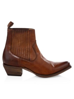 Sacha Western Leather Ankle Boots