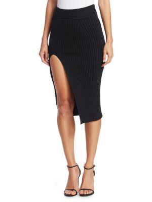 BRANDON MAXWELL Side Slit Knit Pencil Skirt