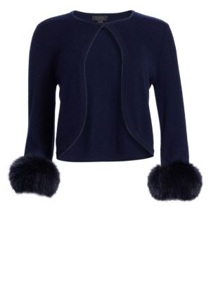 COLLECTION Cashmere Cropped Fox Fur Cuff Cardigan