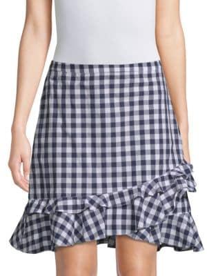 DRAPER JAMES | Gingham Ruffle Mini Skirt | Goxip