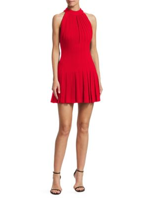 BRANDON MAXWELL Pleated Halter Mini Dress