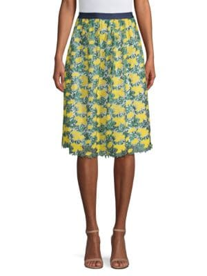 DRAPER JAMES | Embroidered Floral A-line Skirt | Goxip