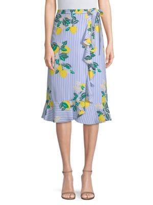 DRAPER JAMES | Lemon Print Wrap Skirt | Goxip