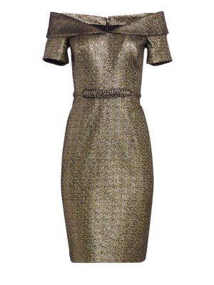OTS Off-The-Shoulder Metallic Cocktail Dress