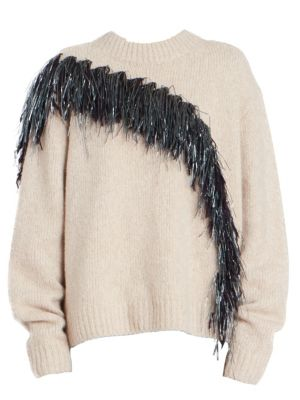 Asymmetric Fringed Sweater