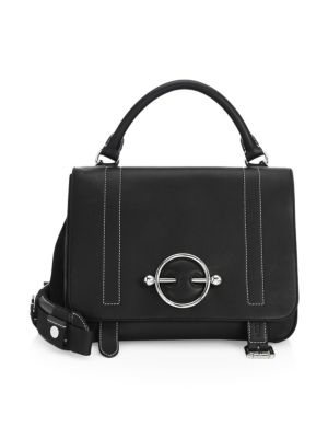Disc Buckle Leather Satchel