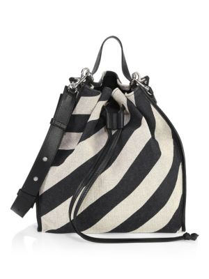 J.W.ANDERSON Striped Suede Drawstring Bag