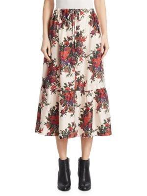 Silk Crepe Floral Ruffled Skirt