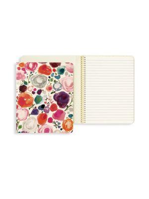Floral-Print Concealed Spiral Notebook
