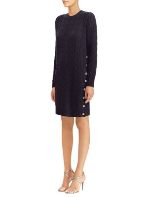Silk Cable-Knit Sweater Dress
