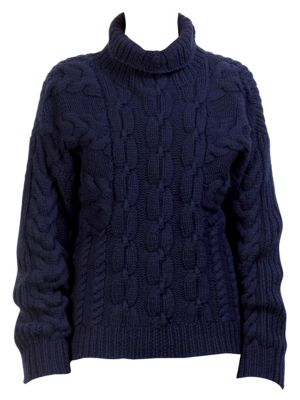 Wool Cable-Knit Turtleneck Sweater