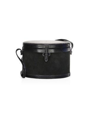 Iraca Lizard Leather & Suede Round Trunk Crossbody Bag