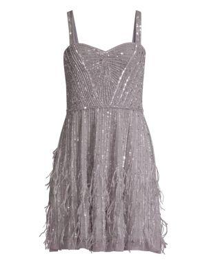PARKER BLACK Jordanna Feathered Fit-&-Flare Dress